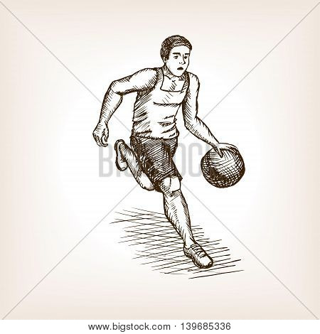 Basketball player sketch style vector illustration. Old engraving imitation.