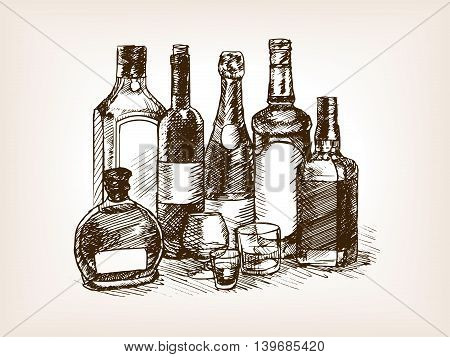 Bottles of alcohol drinks sketch style vector illustration. Old engraving imitation.