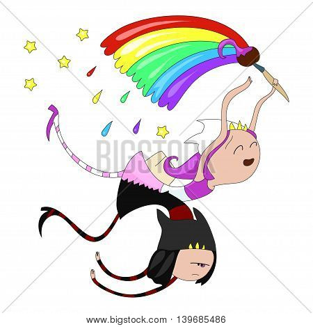 Cute cartoon character funny siamese twins fairies. Cute cartoon character fairies for your design. Vector illustration.