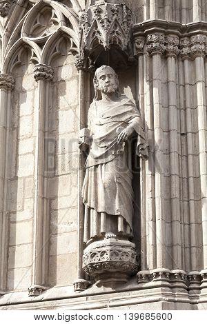 Statue on facade of gothic church Santa Maria del Mar Barcelona Spain