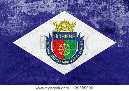 Flag Of Sao Caetano, Sao Paulo, Brazil, With A Vintage And Old L
