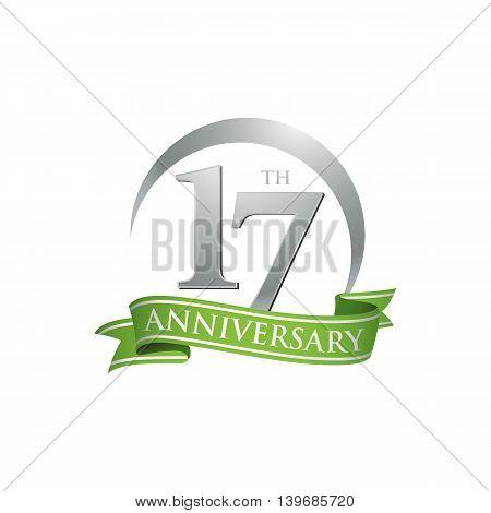 17th anniversary green logo template. Creative design. Business success