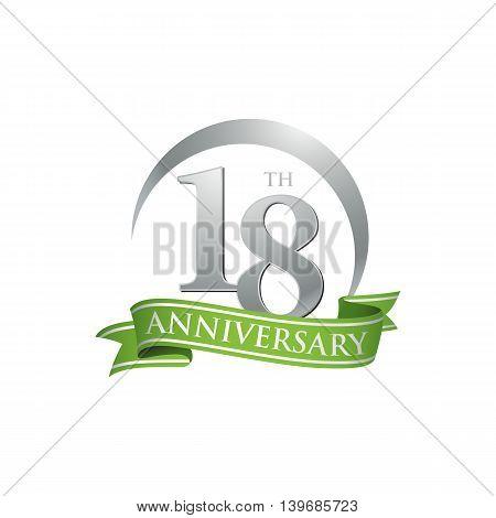 18th anniversary green logo template. Creative design. Business success