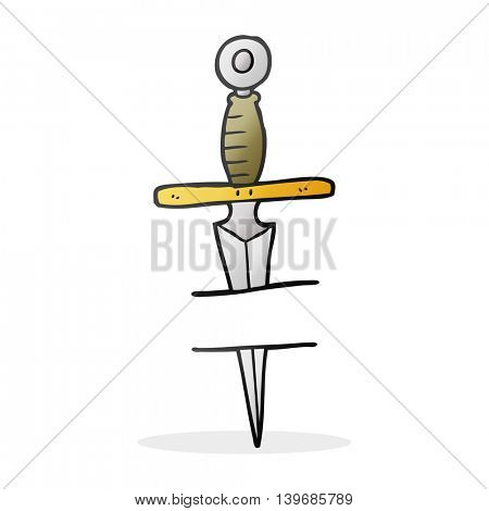 freehand drawn cartoon dagger tattoo symbol
