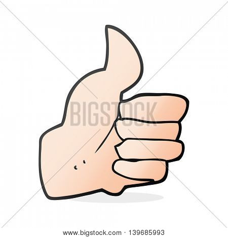 freehand drawn cartoon thumbs up symbol
