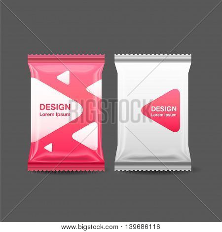 Blank Foil Food Snack pack biscuit crackers sweets chocolate bar candy barbag Plastic Pack Template for your designVector