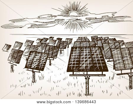 Solar power plant sketch style vector illustration. Old hand drawn engraving imitation.