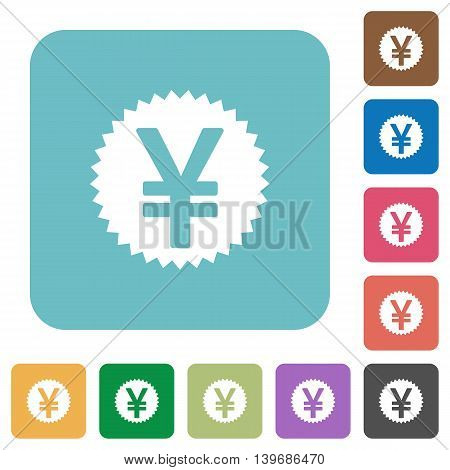 Flat Yen sticker icons on rounded square color backgrounds.