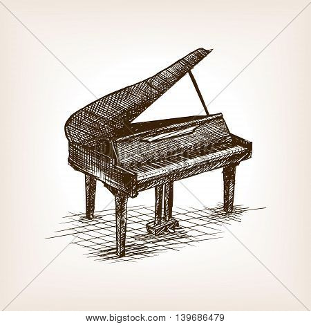 Grand piano sketch style vector illustration. Old engraving imitation.