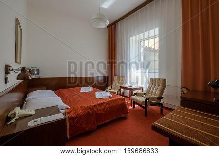 Modern 4 stars hotel room interior
