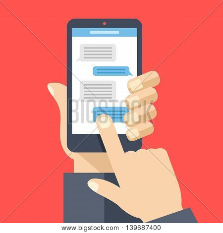 Chat on smartphone screen. Hand holds smartphone, finger touches screen. Instant messaging, texting concepts. Modern elements for web banners, web sites, infographics. Flat design vector illustration