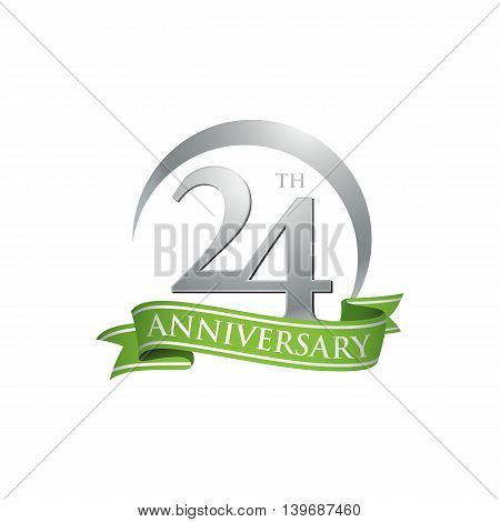 24th anniversary green logo template. Creative design. Business success