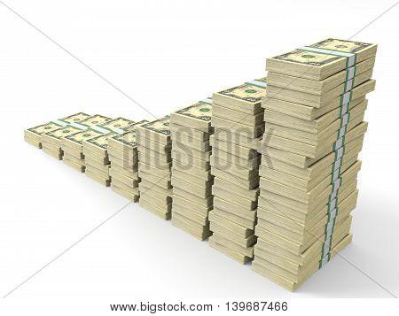 Money Stacks Graph. Two Dollars.