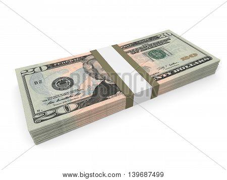 Pack Of Twenty Dollars Bank Notes.