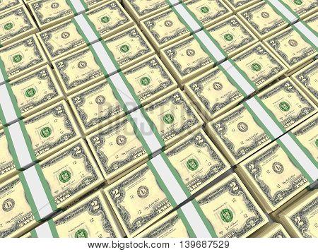 Stacks Of Money. Two Dollars.