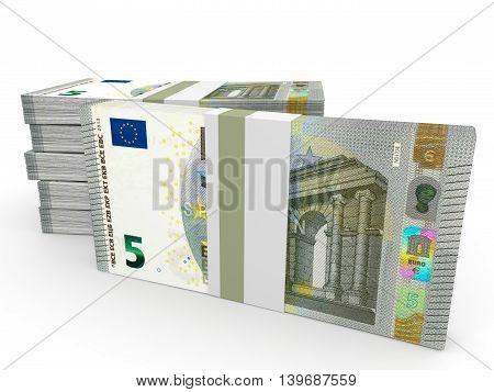 Stacks Of Money. Five Euros.