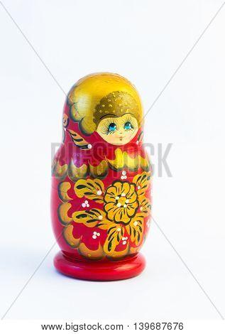 One Matryoshka Russian Nesting Dolls Isolated On White Background
