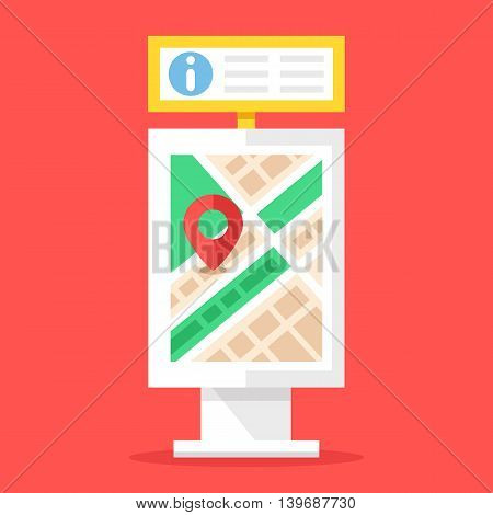 Information board and city map stand. Flat design vector illustration