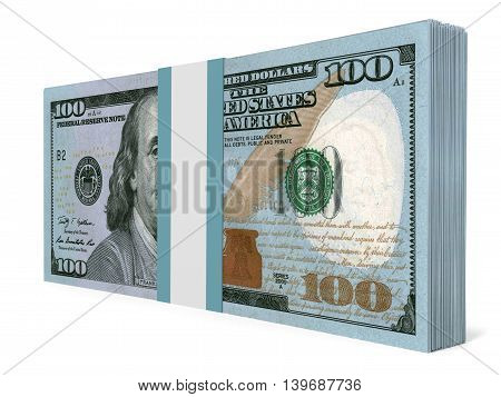 Pack Of Banknotes. New One Hundred Dollars.