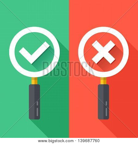 Magnifying glass with check marks set. Green and red backgrounds with trendy long shadow design. Tick and cross icons. Flat design vector illustration