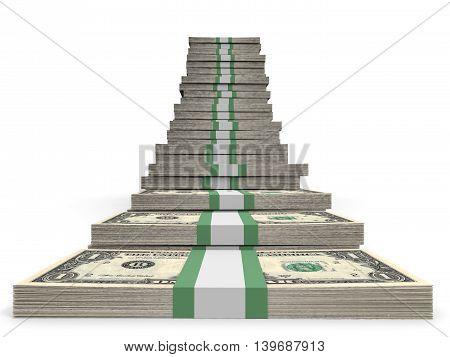 One dollar banknotes  on white background. 3D illustration.