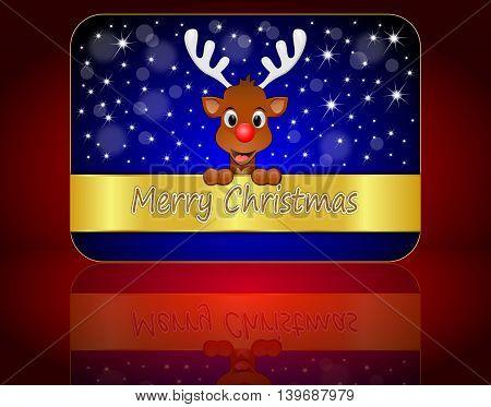 Christmas card with Reindeer wishing Merry Christmas