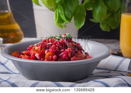 Bowl Of Buckwheat Groats With Vegetables
