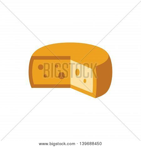 Holandaise Cheese Flat Bright Color Primitive Drawn Vector Icon Isolated On White Background