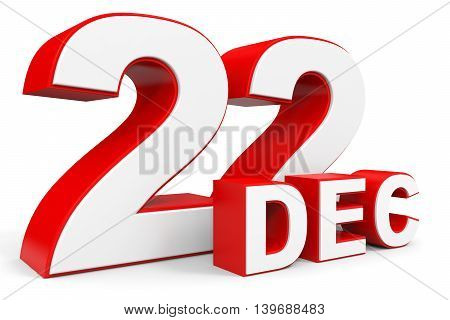 December 22. 3D Text On White Background.