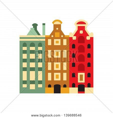 Holandaise Living Buildings Flat Bright Color Primitive Drawn Vector Icon Isolated On White Background