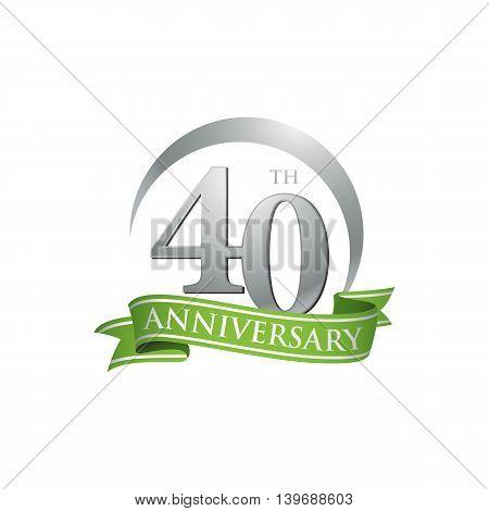 40th anniversary green logo template. Creative design. Business success