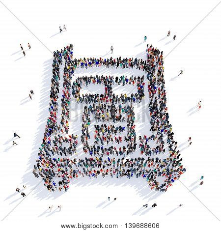 Large and creative group of people gathered together in the shape of a truck. 3D illustration, isolated against a white background. 3D-rendering.