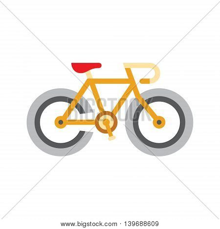 Holandaise Bicycle Flat Bright Color Primitive Drawn Vector Icon Isolated On White Background