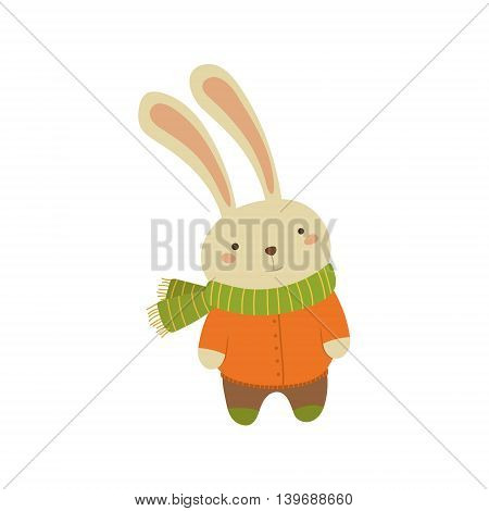 Rabbit In Orange Warm Coat Adorable Cartoon Character. Stylized Simple Flat Vector Colorful Drawing On White Background.