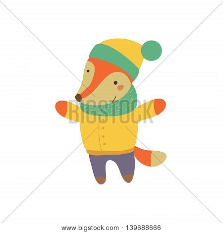 Fox Boy In Yellow Warm Coat Adorable Cartoon Character. Stylized Simple Flat Vector Colorful Drawing On White Background.