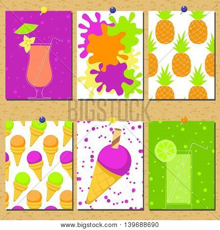 Vector set of bright summer cards with pineapples cocktails and ice cream.