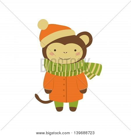 Monkey In Orange Warm Coat Adorable Cartoon Character. Stylized Simple Flat Vector Colorful Drawing On White Background.
