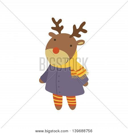 Girl Deer In Blue Warm Coat Adorable Cartoon Character. Stylized Simple Flat Vector Colorful Drawing On White Background.