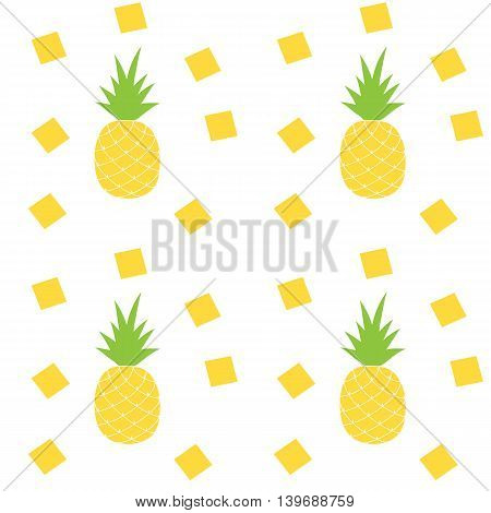 Vector Seamless Pattern with Pineapples. Vector flat illustration.
