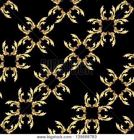 Seamless diagonal gold floral pattern on black background