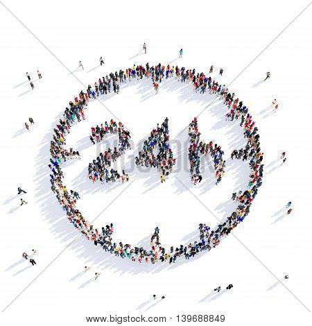 Large and creative group of people gathered together in the shape of 24 hours, around the clock. 3D illustration, isolated against a white background. 3D-rendering.