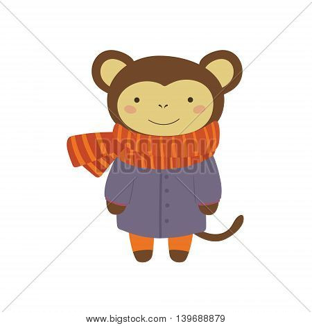 Monley In Blue Warm Coat Adorable Cartoon Character. Stylized Simple Flat Vector Colorful Drawing On White Background.