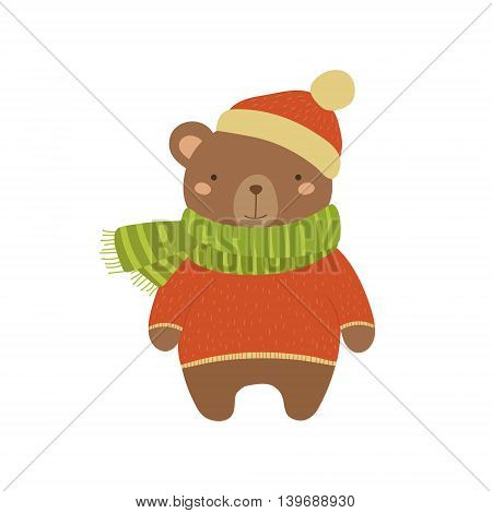 Brown Bear In Red Sweater Adorable Cartoon Character. Stylized Simple Flat Vector Colorful Drawing On White Background.