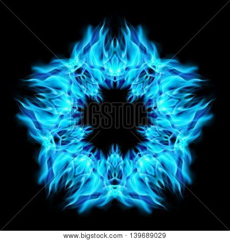 Fire star in cyan color. Black background