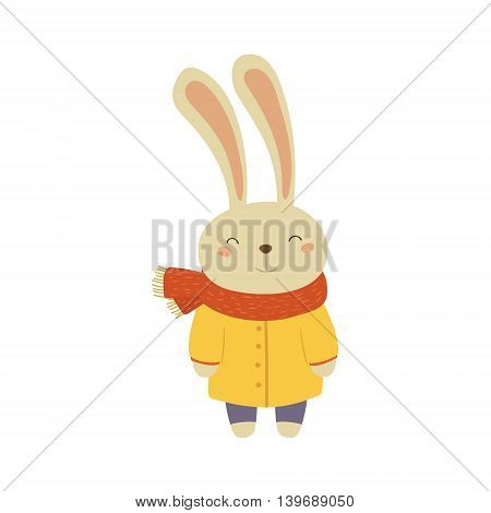 Bunny In Yellow Warm Coat Adorable Cartoon Character. Stylized Simple Flat Vector Colorful Drawing On White Background.