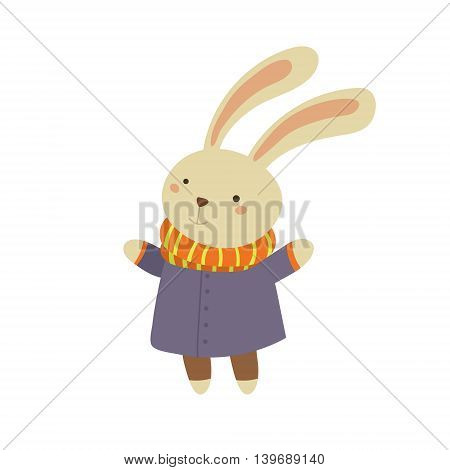 Bunny in Blue Warm Coat Adorable Cartoon Character. Stylized Simple Flat Vector Colorful Drawing On White Background.