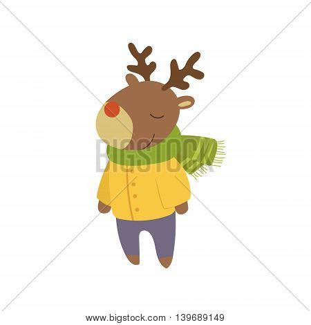Boy Deer In Yellow Warm Coat Adorable Cartoon Character. Stylized Simple Flat Vector Colorful Drawing On White Background.