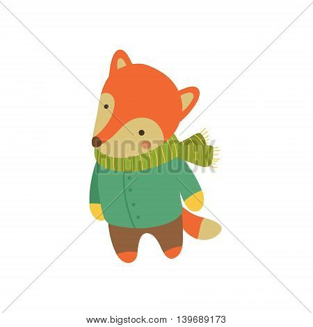 Fox In Green Warm Coat Adorable Cartoon Character. Stylized Simple Flat Vector Colorful Drawing On White Background.