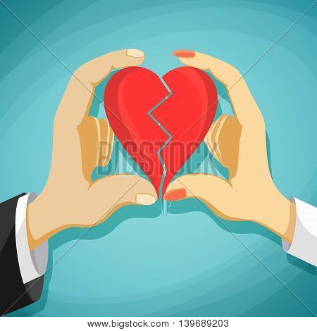 Man and woman is folded red heart. Stock Vector cartoon illustration.