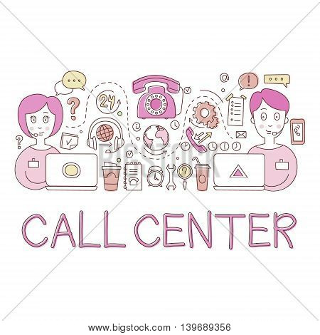 Call Center Work Elements Creative Sketch Infographic. Cool Vector Hand Drawn Illustration In Sketch Style.